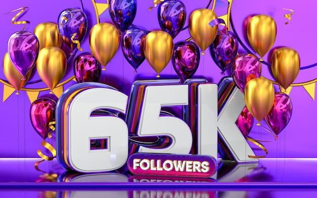 65k follower feier danke social media banner mit lila und goldenem ballon 3d-rendering