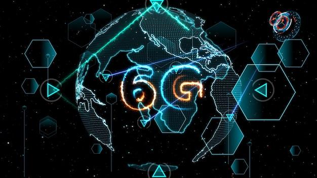 6g netzwerk super speed internet digitale weltkarte im monitor digitalen zähler zyklus radar 3d elektronischen zähler im inneren gesendete daten von quantensatelliten senden signal stern brust hintergrund