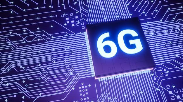 6g-unterstützungsmikrochip auf der smartphone-platine, intelligenter iot-kommunikationsmikroprozessor der nächsten generation, 3d-rendering futuristisches schnelles echtzeit-mobilfunk-internet-technologiekonzept