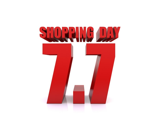 7.7 verkauf am einkaufstag auf weißem hintergrund. 7. juli verkaufsplakatvorlage. 3d-rendering
