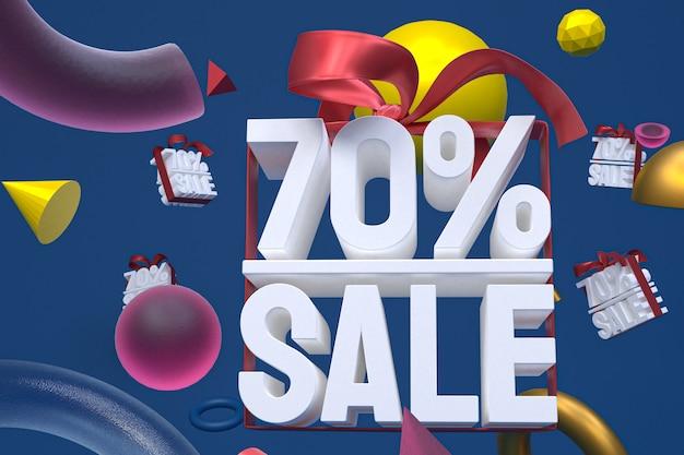 70% verkauf mit bogen und band 3d design auf abstraktem geometriehintergrund