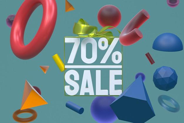 70% verkauf mit bogen und band 3d-design auf abstrakter geometrie-hintergrund