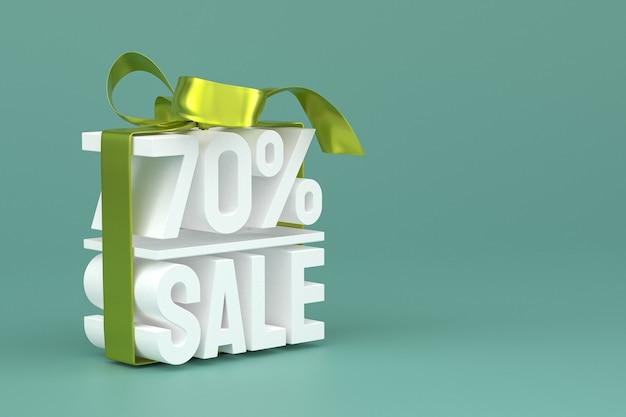 70% verkauf mit schleife und band 3d-design auf leerem hintergrund
