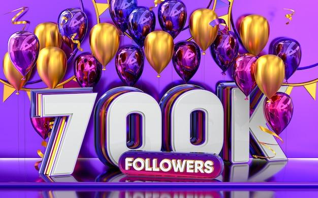 700k-follower-feier danke social-media-banner mit lila und goldenem ballon 3d-rendering
