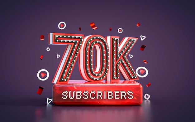 70k abonnenten feier 70.000 follower social media glückwunschkarte 3d-rendering