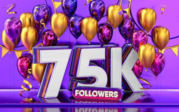 75k follower feier danke social-media-banner mit lila und goldenem ballon 3d-rendering