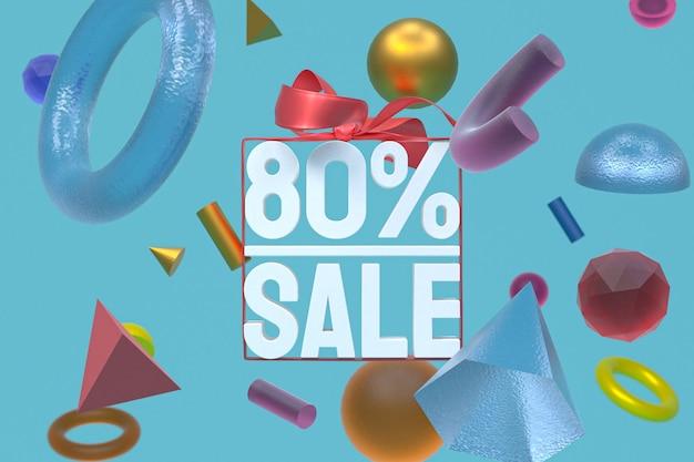 80% verkauf mit bogen und band 3d design auf abstraktem geometriehintergrund