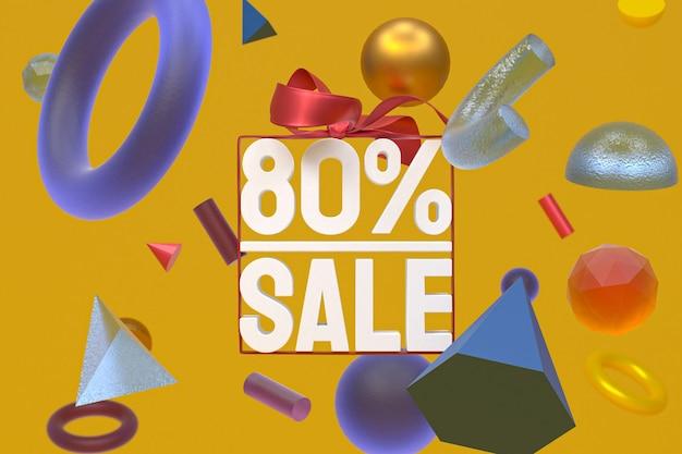80% verkauf mit bogen und band 3d-design auf abstrakter geometrie-hintergrund Premium Fotos