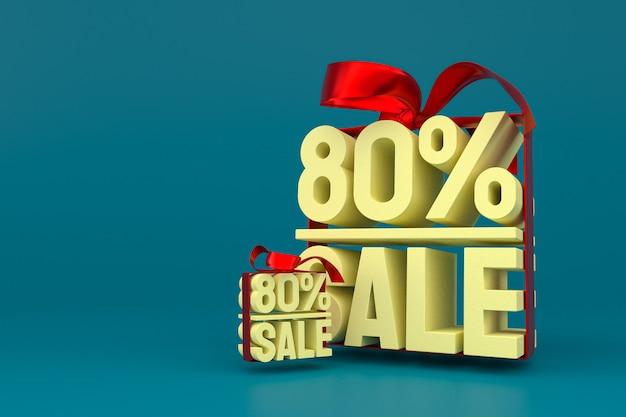 80% verkauf mit bogen und band 3d-design auf leerem hintergrund