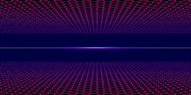 80er jahre dampfart neon-gitter mit dunklem horizont retro elektrisches feld 3d illustration