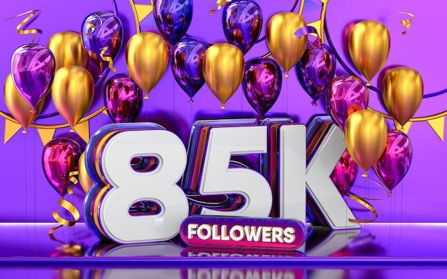 85k follower feier danke social-media-banner mit lila und goldenem ballon 3d-rendering