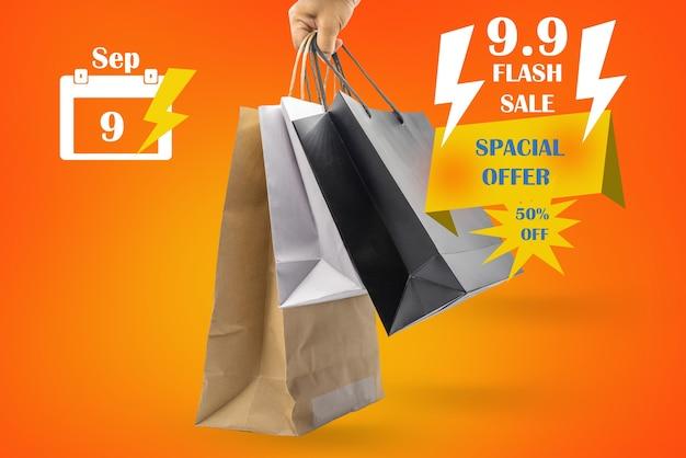 9. september oder 9.9 flash-verkaufsplakat für die idee der einkaufsförderung.