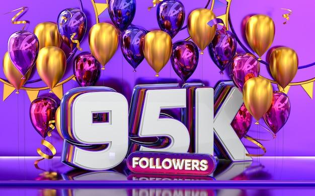 95k follower feier danke social-media-banner mit lila und goldenem ballon 3d-rendering