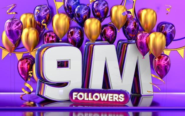9m follower feier danke social media banner mit lila und goldenem ballon 3d-rendering