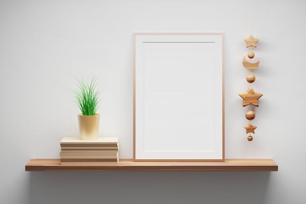 A4 vertikale rahmenmodellvorlage, die auf einem holzregal mit topfpflanze und hängendem holzdekor steht. 3d-darstellung.