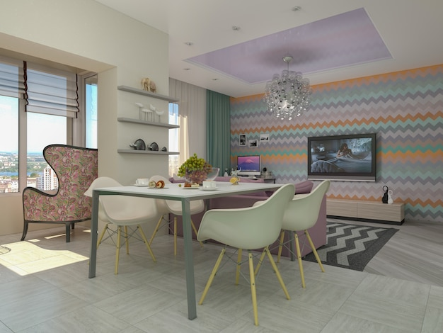 Abbildung 3d der kleinen wohnungen in den pastellfarben. wohnzimmer