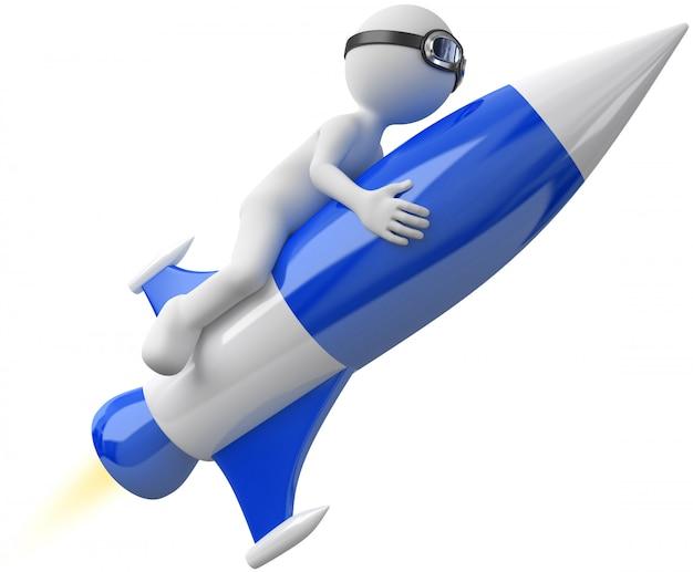 Abbildung 3d des weißen mannes mit rakete