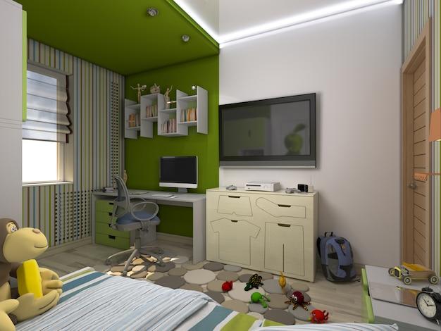 Abbildung 3d einer grünen kindertagesstätte für einen jungen