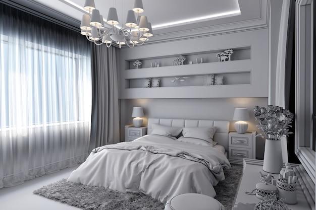 Abbildung 3d eines weißen schlafzimmers in der klassischen art