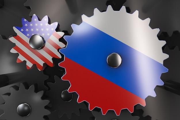 Abbildung der interaktion zwischen den usa und russland. konzept der zustandsmaschine.