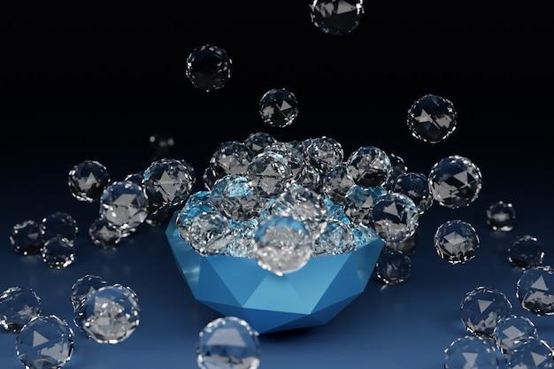Abbildung einer großen platte mit transparenten kugeln mit vielen flächenkristallen, die in verschiedene richtungen streuen