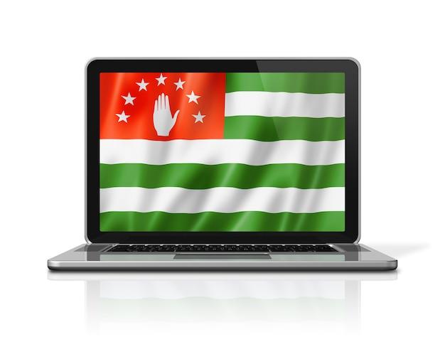 Abchasien-flagge auf laptop-bildschirm isoliert auf weiss. 3d-darstellung rendern.