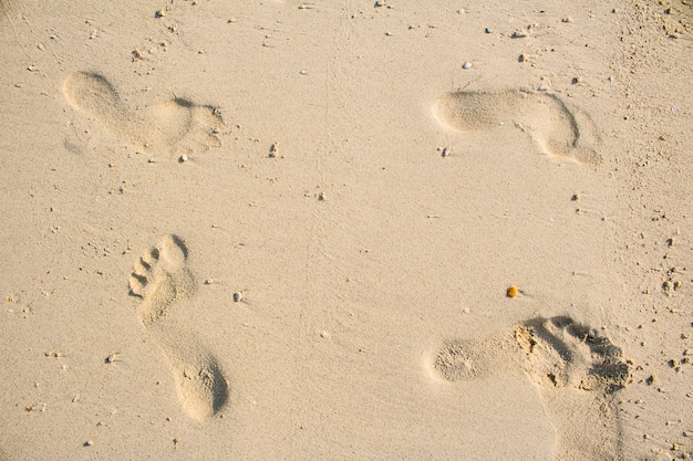 Abdrücke im schönen sandstrand des sandes morgens