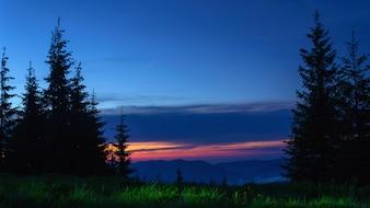 Abend Berge Landschaft