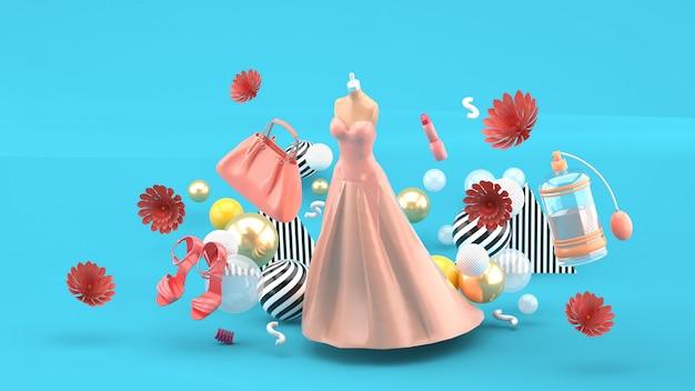Abendkleider, taschen, schuhe und kosmetika schweben zwischen den blumen auf blau. 3d-rendering.