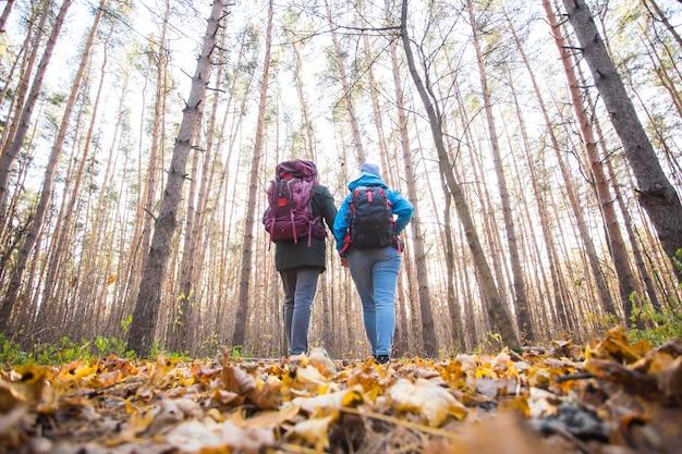 Abenteuer-, reise-, tourismus-, wander- und menschenkonzept - junges paar mit rucksäcken im wald.