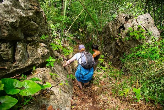 Abenteuerreisen tourismus wanderung und menschen konzept gruppe von lächelnden freunden, die mit rucksack gehen