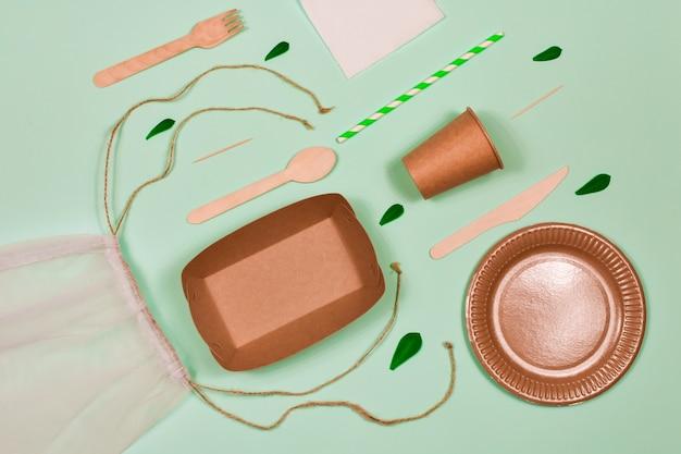 Abfallfrei, umweltfreundlich, einwegartikel, pappe, papierutensilien