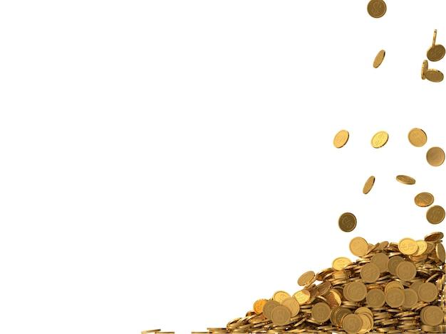 Abgerundete goldene münzen mit dollarsymbol.