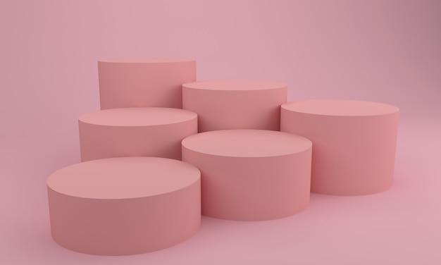 Abgerundete podium design 3d illustration rosa verleumdungen design