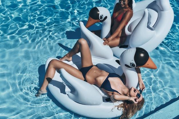 Abkühlung im wasser. draufsicht einer attraktiven jungen frau im bikini, die auf dem aufblasbaren schwan liegt und lächelt, während sie sich mit freundin im pool entspannt?