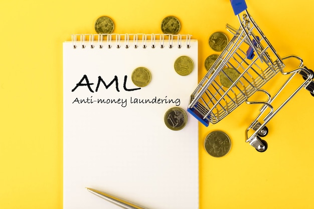 Abkürzung aml anti money laundering, geschrieben auf einem notizblock mit münzen und einem einkaufswagen.