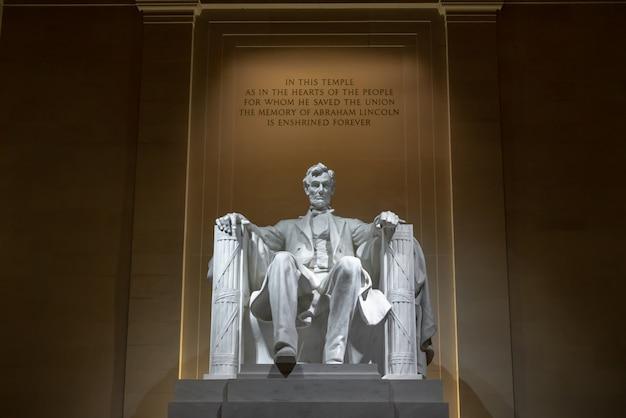 Abraham lincoln memorial im washington dc, in den vereinigten staaten, in der geschichte und in der kultur für reisekonzept