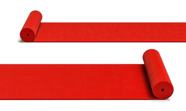 Abrollen der roten teppiche auf weißem hintergrund. 3d-rendering