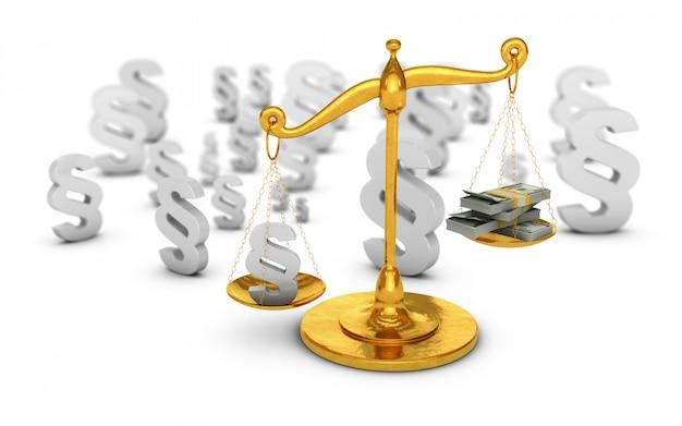 Absatzzeichen und dollarbanknoten auf goldenen skalen. 3d render