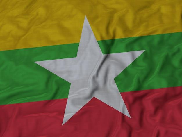 Abschluss oben der gekräuselten myanmar-flagge