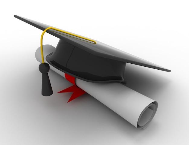 Abschlusskappe mit diplom.3d-darstellung