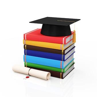 Abschlusskappe mit diplom und stapel bücher