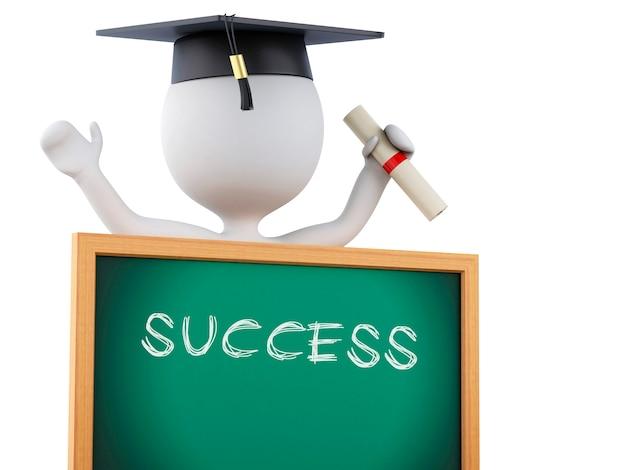 Absolventen der weißen leute 3d mit diplom, staffelungskappe und tafel.