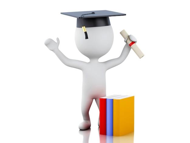 Absolventen der weißen leute 3d mit diplom, staffelungskappe.