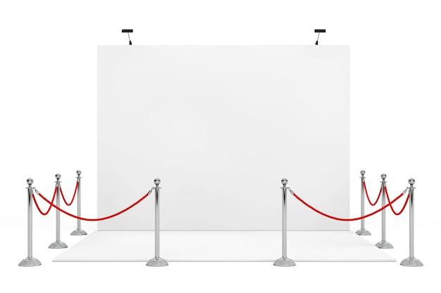 Absperrseil um messestand auf weißem hintergrund. 3d-rendering.