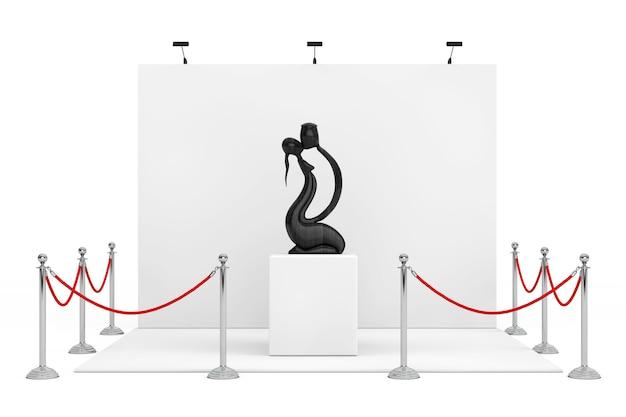Absperrseil um messestand mit abstrakten hölzernen mann und wooman in der liebesstatue auf einem weißen hintergrund. 3d-rendering.