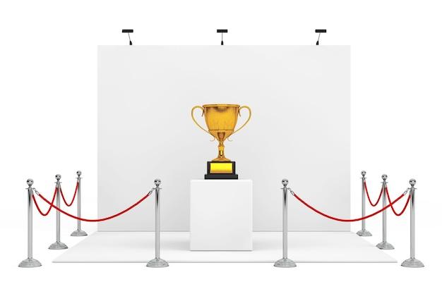 Absperrseil um messestand mit award golden trophy auf weißem hintergrund. 3d-rendering.