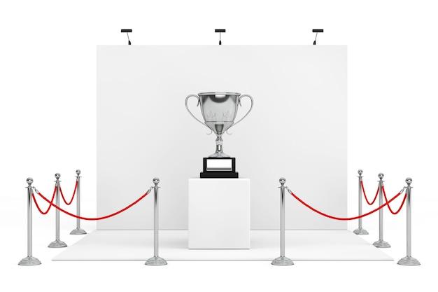 Absperrseil um messestand mit award silver trophy auf weißem hintergrund. 3d-rendering.