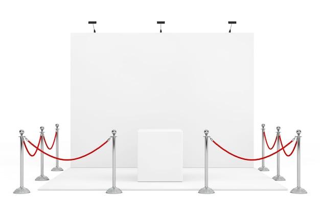 Absperrseil um messestand mit leerem stand auf weißem hintergrund. 3d-rendering.