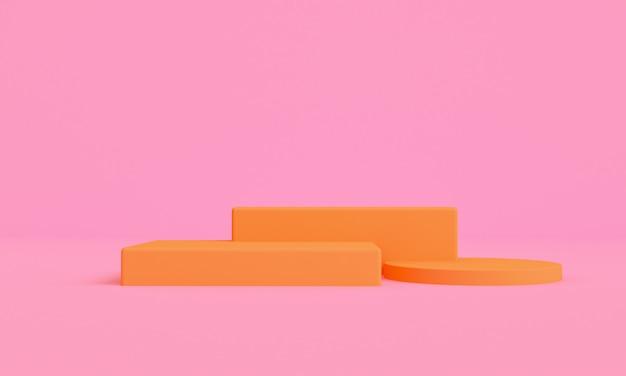 Abstack orangen minimalistischer stil plattformprodukte präsentieren in rosa hintergründen, 3d rendring